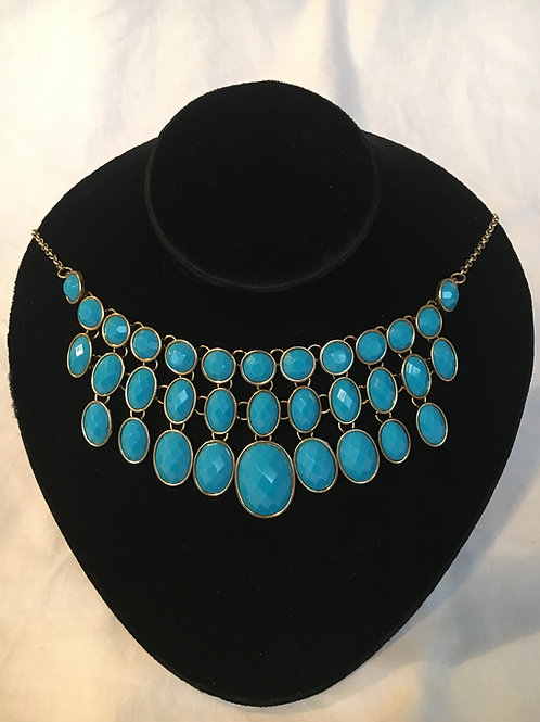 """Modern 1920s Style Faux Turquoise Blue """"Bib"""" Style Necklace"""