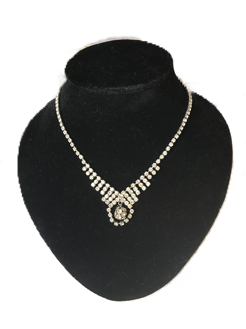 """Showstopping Sparkling Diamante Necklace With Articulated Drop """"En Tremblent"""""""