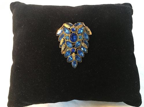 Fantastic Vintage Ornate Blue Paste Scarf Clip