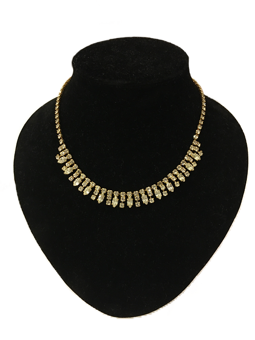 Diamanté and Gilt Fringe Necklace