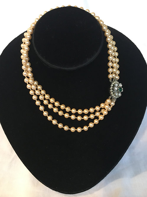 Triple Strand Vintage Faux Pearl Necklace with Large Diamante Clasp