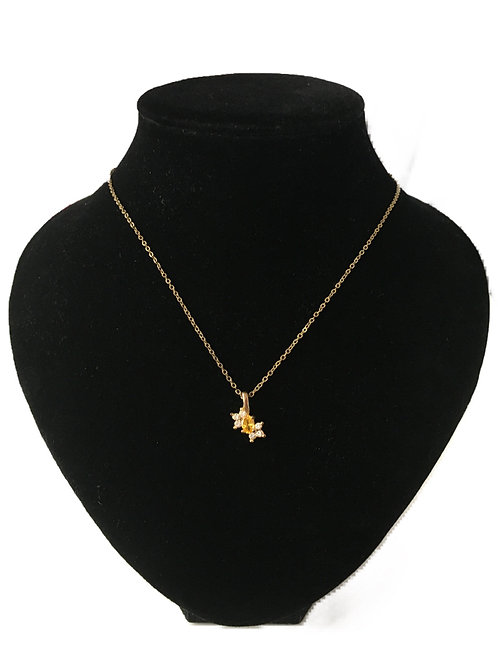 Sweet Little Diamanté and Yellow Stone Pendant on Gold Plated Chain