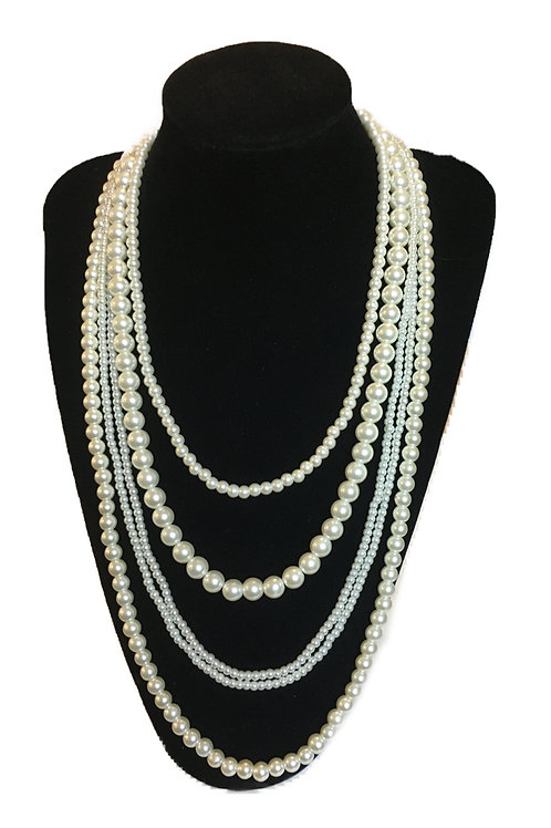 Large Multi-strand Statement Faux Pearl Necklace