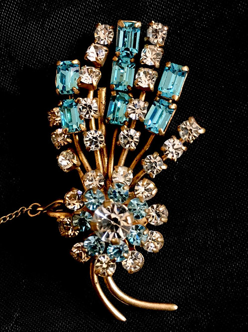 Gorgeous 1950s Diamanté and Pale Blue Floral Gilt Brooch