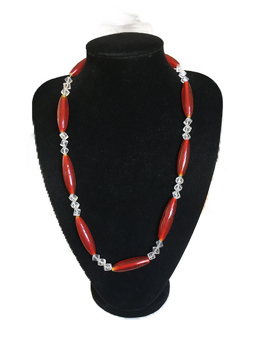Striking Red and Clear  Deco Style Plastic Bead Necklace