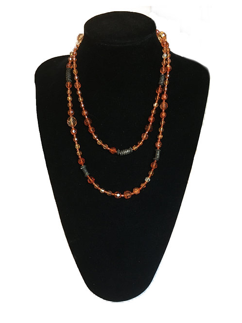 Bright Long Orange and Metal Bead Necklace