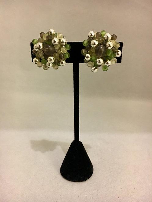 Moss Green Beaded 1950s Cluster Clip On Earrings