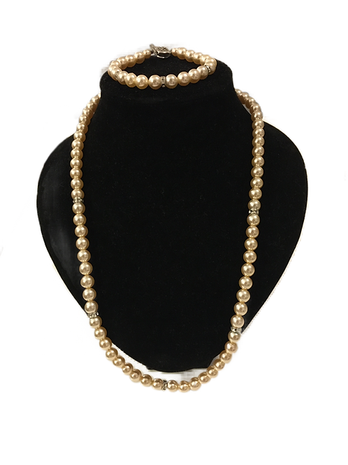 Matching Faux Pearl and Diamanté Necklace and Bracelet