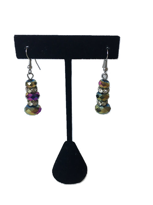Foiled Glass Bead Long Earrings with Paste Inserts