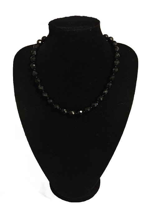 Dramatic Glass Jet Style Faceted Bead Necklace