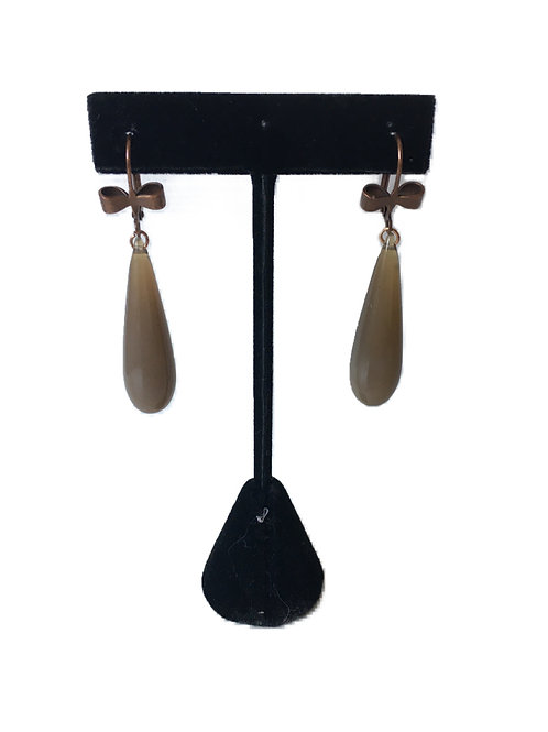 Attractive Grey and Copper Drop Earrings