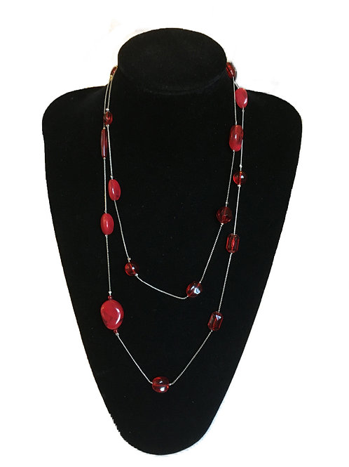 Flapper Length Red Bead Necklace on Long Twisted Metal Chain
