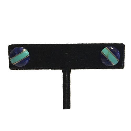 Discreet Blue and Turquoise Stripe Stud Earrings
