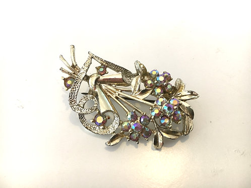 B Glorious Aurora Borealis Crystal Flower Bouquet Brooch