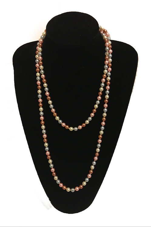 Long Flapper Length Row of Faux Coloured Pearls