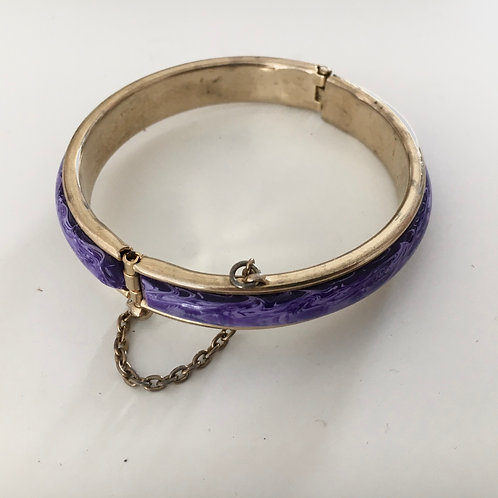Cute Purple and Gilt Metal Bangle with Safety Chain