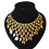 Thumbnail: Showstopping Gilt Interlocking Bib Necklace with Green Accents and Leaves