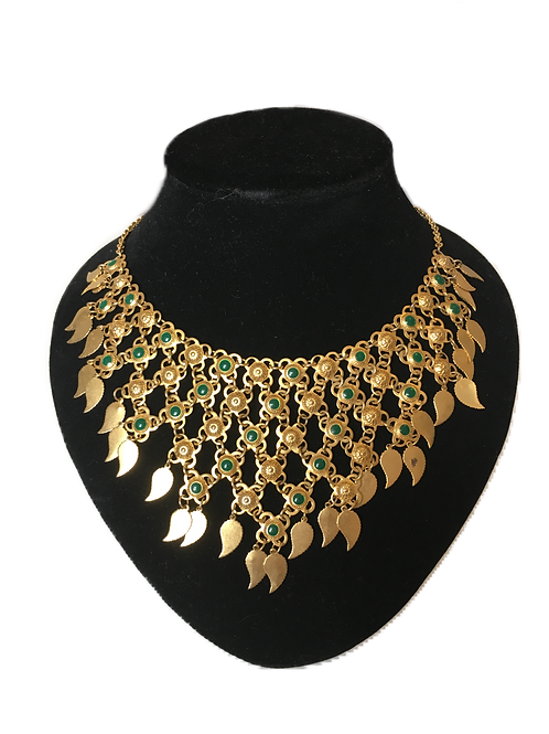 Showstopping Gilt Interlocking Bib Necklace with Green Accents and Leaves