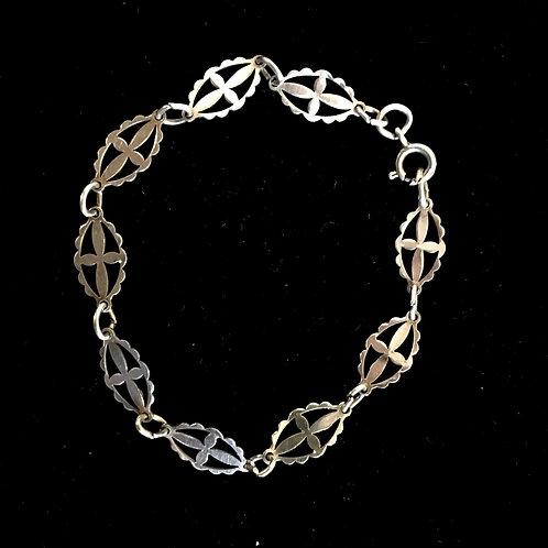 Small Silver Metal Fancy Link Bracelet