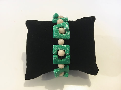 Bright Green 1980s Abstract Elasticated Bracelet