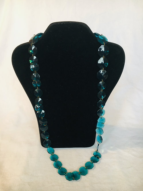 Funky Blue Plastic 1970s Style Necklace