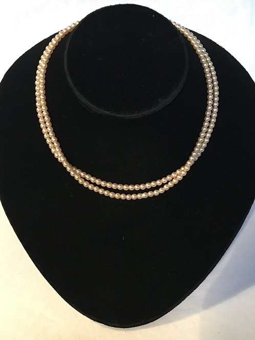 Simple Two Strand Faux Pearl Necklace