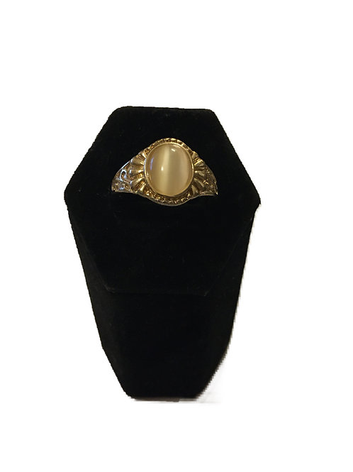 Chunky Gilt Metal Men's Ring with Pearlescent Centre