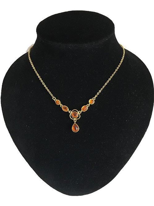Pretty Gilt Metal Amber Edwardian Style Necklace
