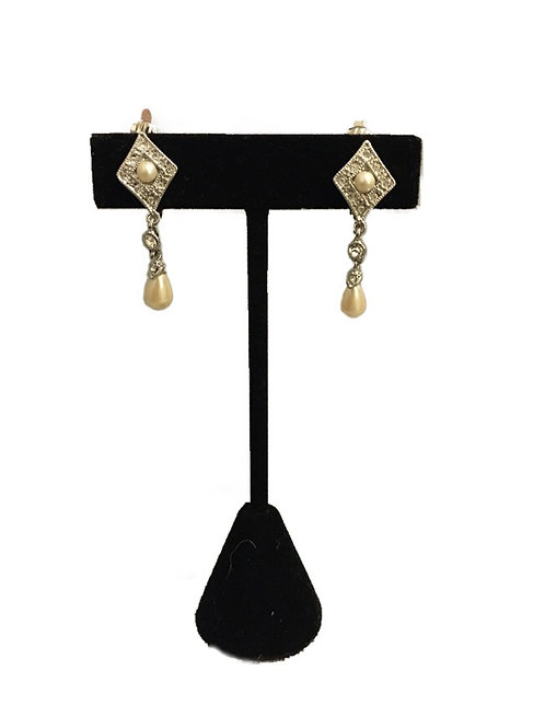 Stunning Diamanté and Faux Pearl Drop Earrings