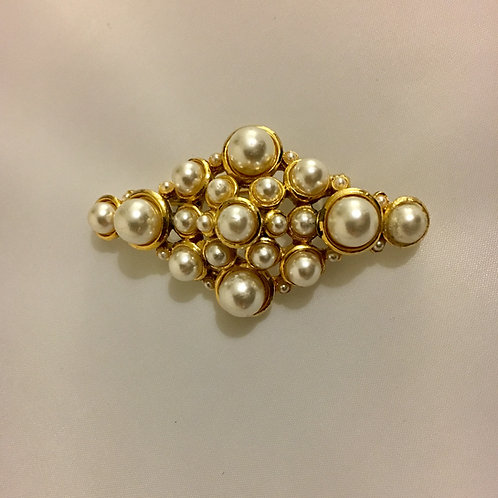 Geometric Faux Pearl and Gilt Cluster Brooch
