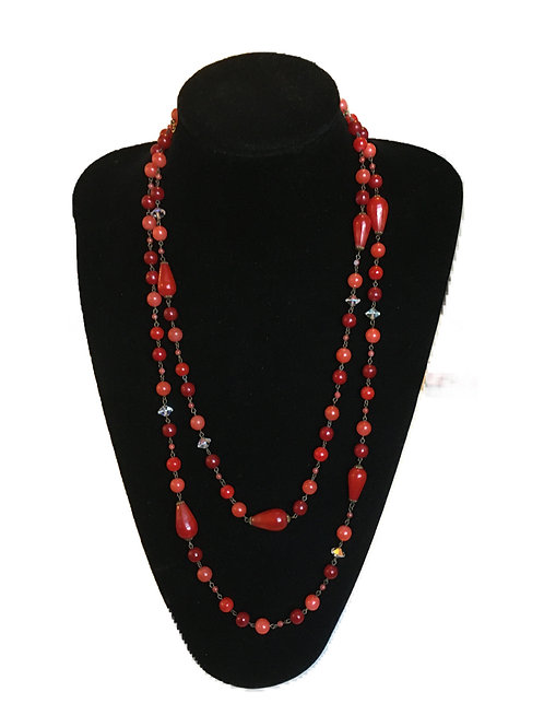 Bright Flapper Length Red Bead Necklace