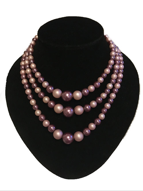 Pretty Purple and Lilac Three Row Faux Pearl Necklace