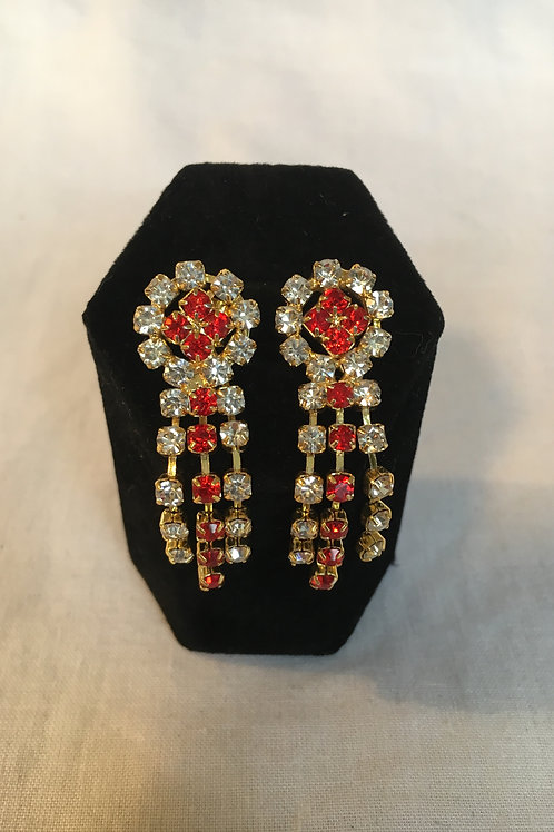 Clear and Red Diamante Drop Earrings