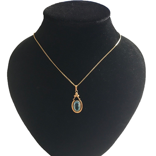Edwardian Rolled Gold Blue Stone Pendant and Chain