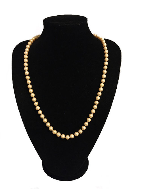 Mid Length Faux Pearl Necklace with Pearl Cluster Clasp