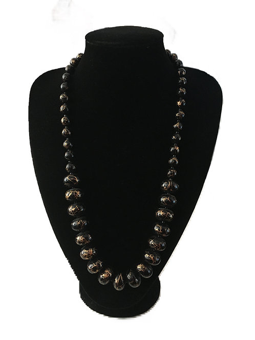 1980s Black and Gold Bead Necklace