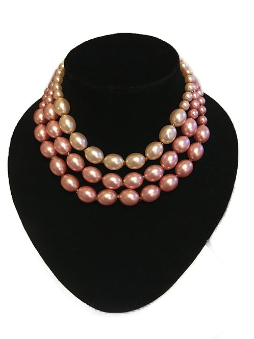 Elegant Three Row Faux Pearl Necklace in Shades of Pink