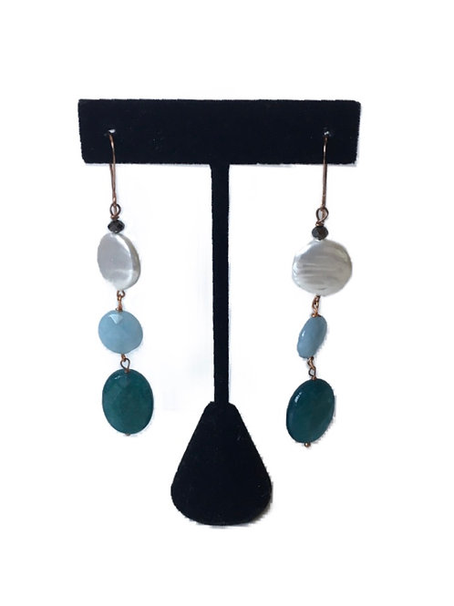 Modern Long Triple Bead Earrings