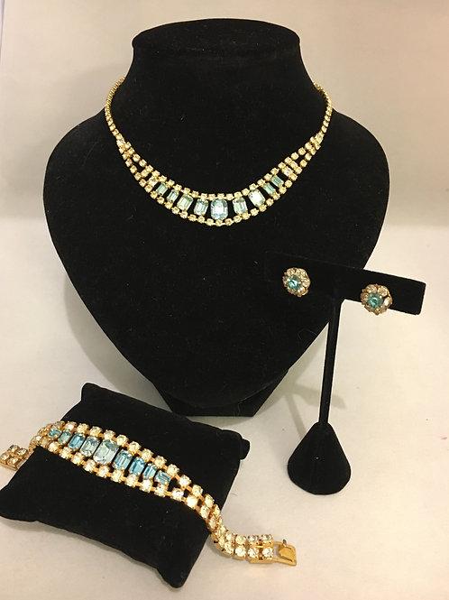Fabulous 1950s Diamanté and Pale Blue Cocktail Demi-Parure