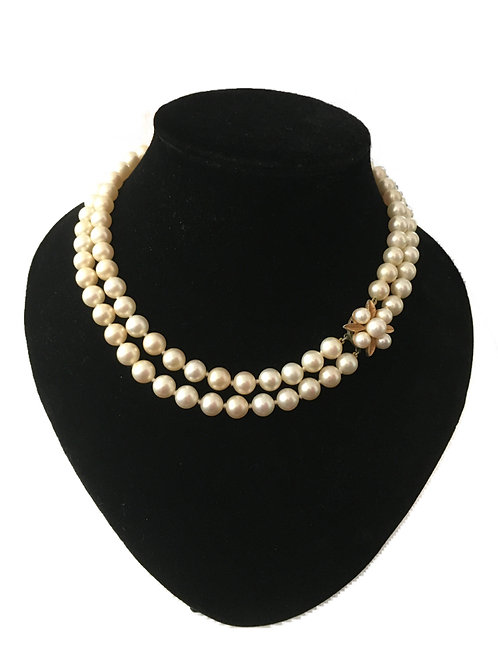 Charming 1950s Majorica Double Row Faux Pearl Necklace with Ornate Clasp