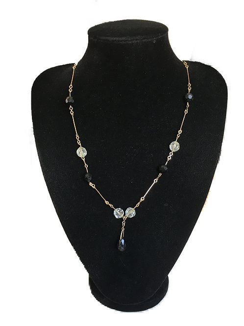 Delicate Deco Gilt Link Necklace with Black and Clear Stone Accents