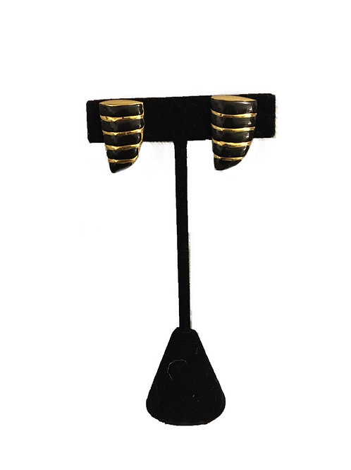 1980s Napier Black and Goldtone Clip On Screw Earrings