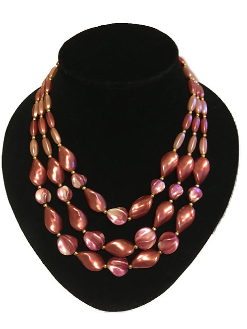 Sumptuous Pink Pearlescent Bead Three Row Necklace