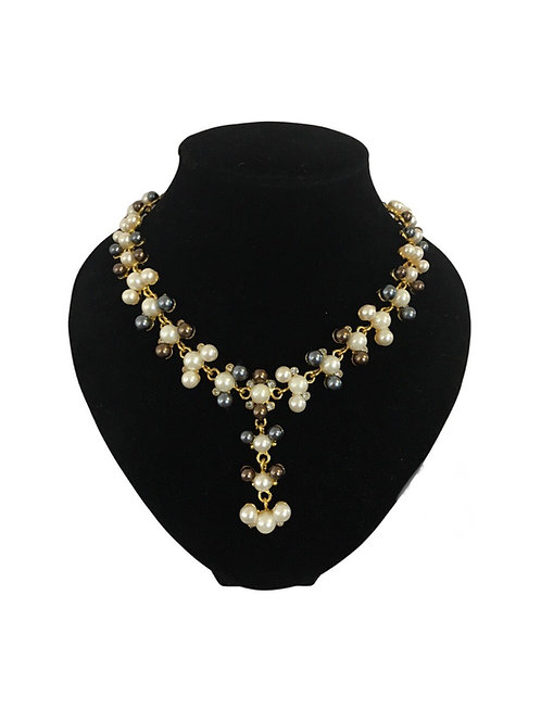 Ornate Faux Pearl and Diamanté Clustered Gilt Metal Necklace