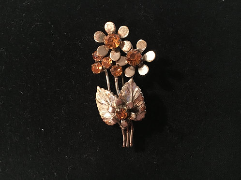 Sweet Floral Spray Brooch with Amber Glass Stones