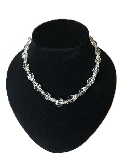 Stunning Faceted Clear Bead Vintage Necklace