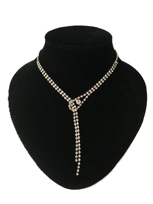 Narrow Modern Diamanté Plunge Necklace