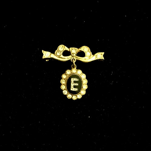 """18th Century Style Gilt Metal and Diamante Initial """"E"""" Pendant Bow Brooch"""