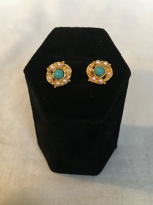 Stunning Turquoise and Faux Seed Pearl Stud Earrings