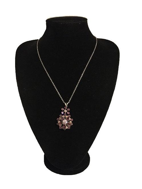 Ornate Amethyst Purple Flower Burst Pendant on Chain